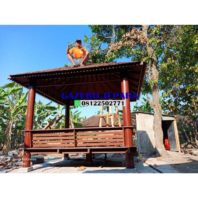 Gazebo kayu kelapa atap sirap ukuran 3x3