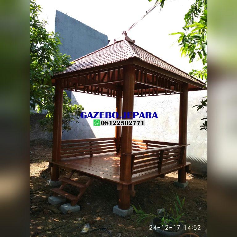 Gazebo kayu kelapa ukuran 2,5 x 2,5