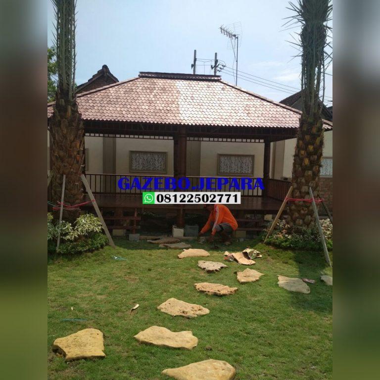Gazebo kayu kelapa ukuran 3x6