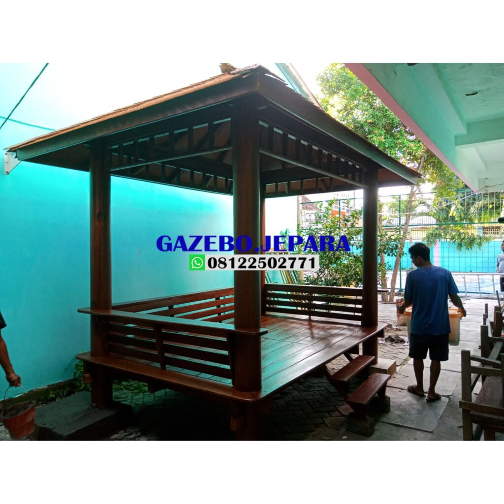 Gazebo taman kayu 1024x1024 - Gazebo taman kayu kelapa ukuran 3x2