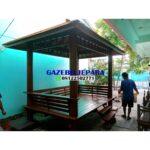 Gazebo taman kayu 150x150 - Gazebo taman kayu kelapa ukuran 3x2